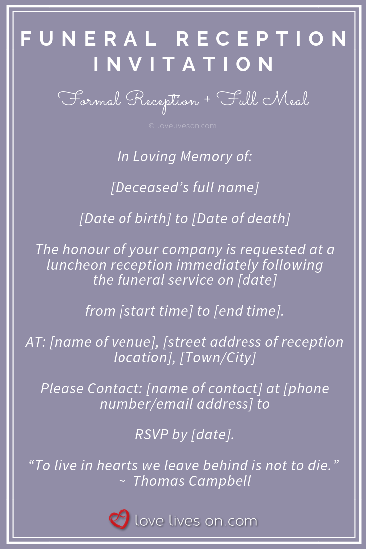 39 Best Funeral Reception Invitations Funeral Reception Reception Invitations Reception Invitation Wording