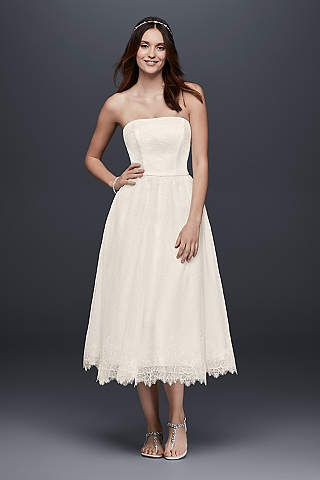 Short Dotted Tulle Tea Length Wedding Dress With Lace Ivory 8