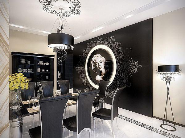 Black White Modern Vintage Apartment Geometrix Dining Table