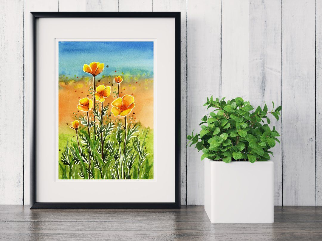 California Poppies Watercolor Giclee Print | Watercolor ...