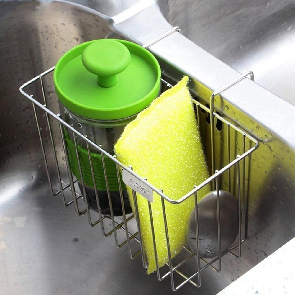 Kitchen Sponge Holder Sink Caddy Brush Soap Rack Stainless Steel Dishes New Aiduy Kitchen Sponge Holder Kitchen Sink Caddy Sink Caddy