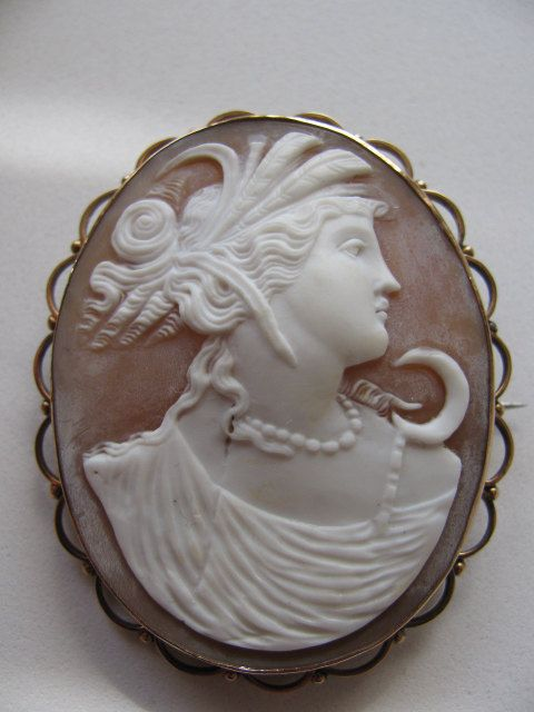 Victorian Carved Cameo Brooch Diana Artemis by victoriansentiments, $240.00