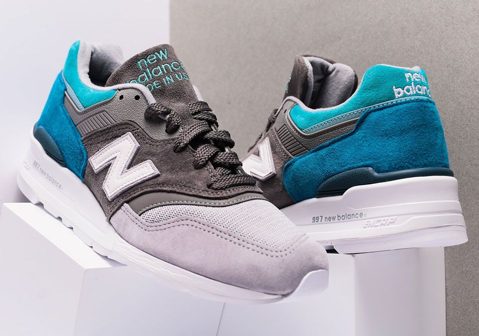 The New Balance 997 Appears In A Soothing Grey And Aqua