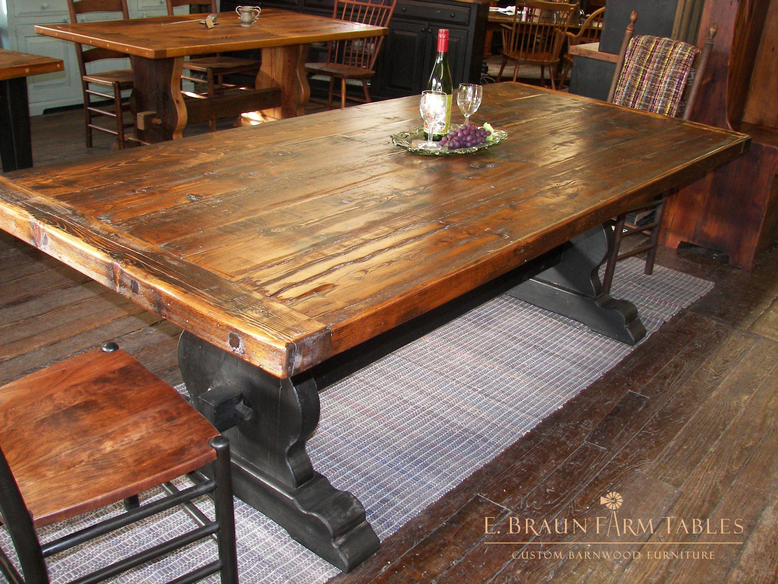 8 Long Medium Character Dark Tudor Vase Trestle Base Table This