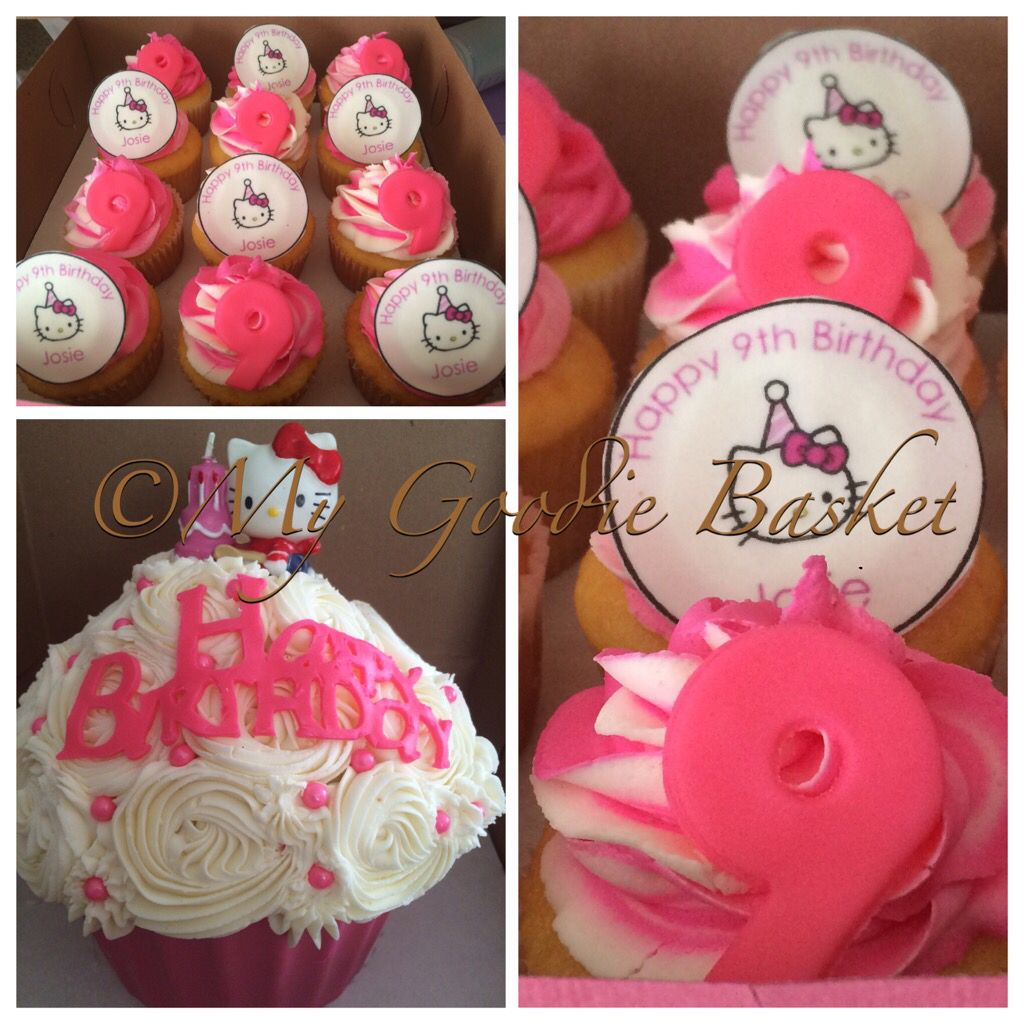 Hello Kitty Themed Cupcakes With Matching Giant Cupcake
