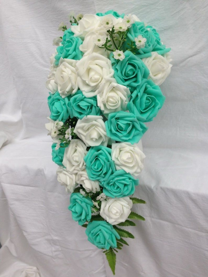 Aqua Ivory and Green Roses and Orchids Cascade Bridal Bouquets Boutonniere and Corsages 5 Pieces Tropical Beach Wedding Bouquets Pool