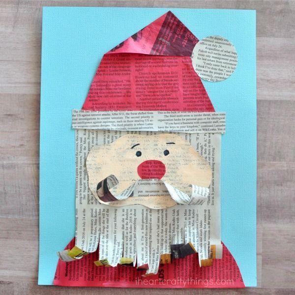 Photo of Newspaper Santa Claus Craft
