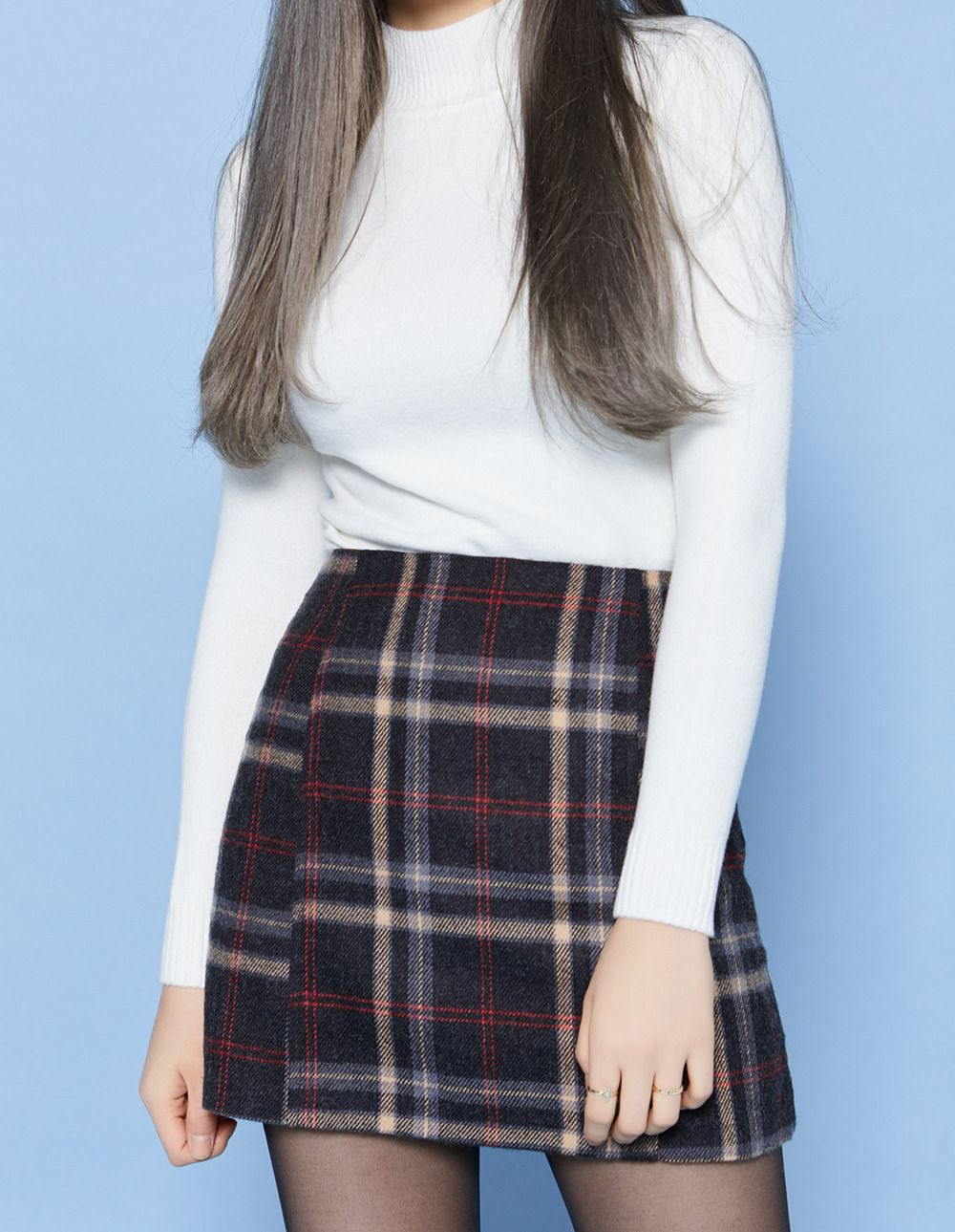 bf46a774c Dove Check Skirt | Korean Fashion | Fashion, Winter skirt outfit ...