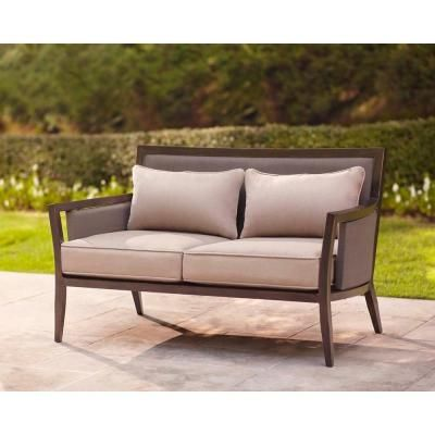 Delightful Brown Jordan Greystone Patio Loveseat With Sparrow Cushions    STOCK