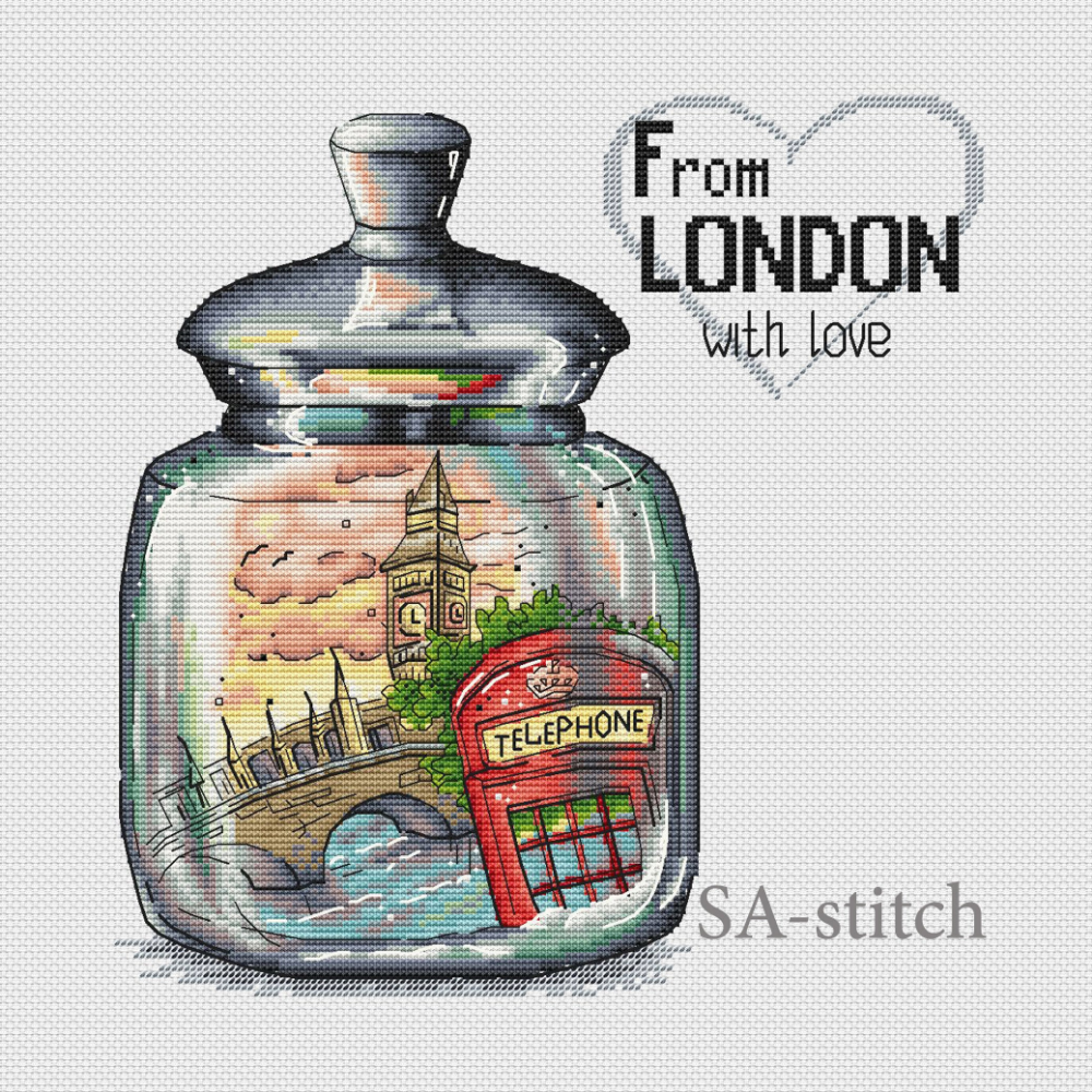 Photo of From London with love, Cross Stitch Pattern, PDF Instant Download, Pattern Xstitch, Cross Stitch Embroidery, Modern xstitch, x-stitch, chart