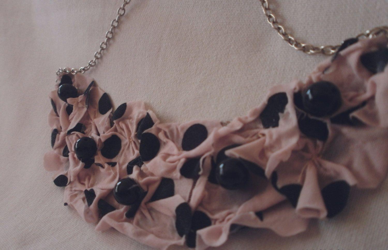 pink polka dots statement necklace by DragonflyShopSerbia on Etsy