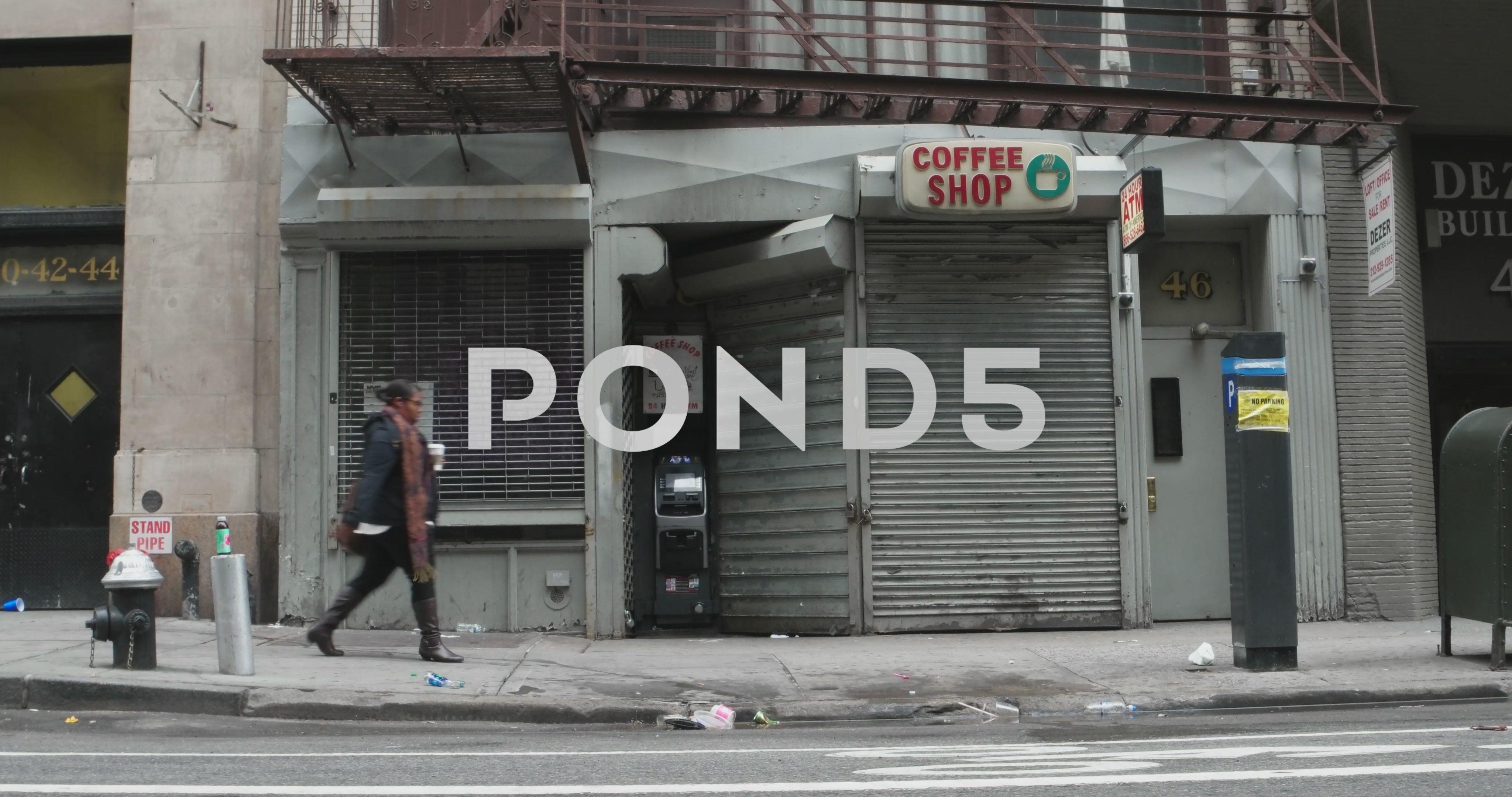 Old Coffee Shop Storefront in Manhattan New York City 4K
