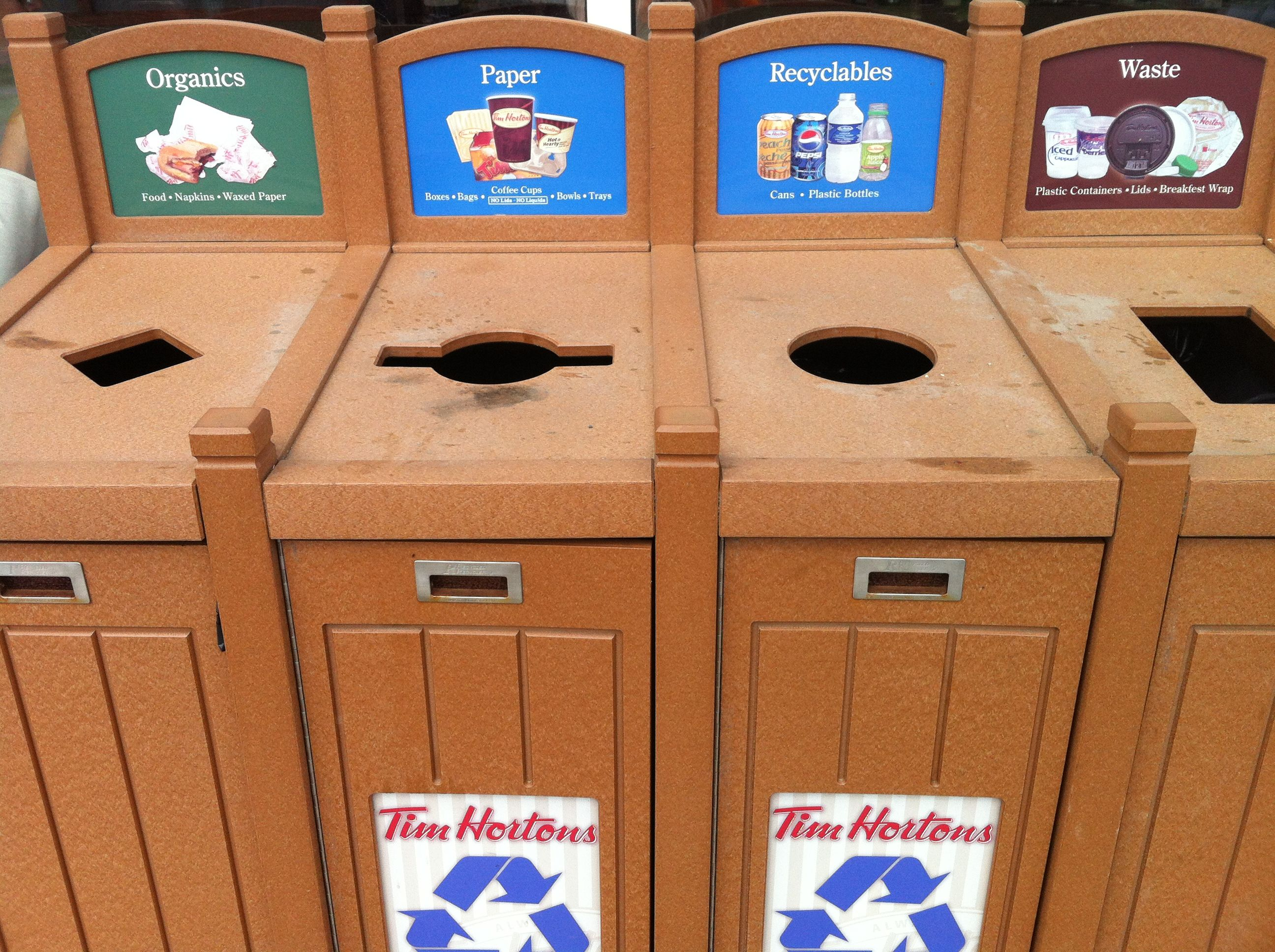 The Recycling Station At Tim Hortons In New Brunswick Also Collects Organics