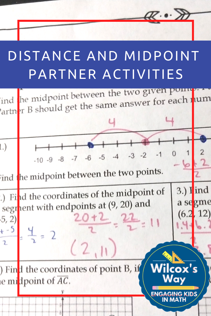 Distance And Midpoint Partner Activities Writing Equations Coordinate Plane Activity Number Line