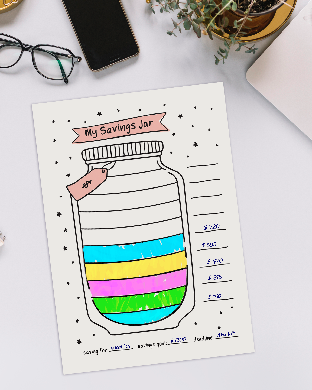 Saving Tracker Savings Jar Hand Drawn Savings Jar Etsy In 2021 Bullet Journal Work Bullet Journal Books Bullet Journal Lettering Ideas