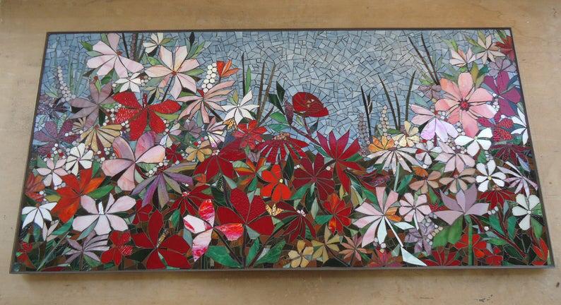 Floral Garden Mosaic Wall Art Made To Order Bathroom Wall Etsy In 2020 Mosaic Wall Art Mosaic Art Glass Mosaic Art