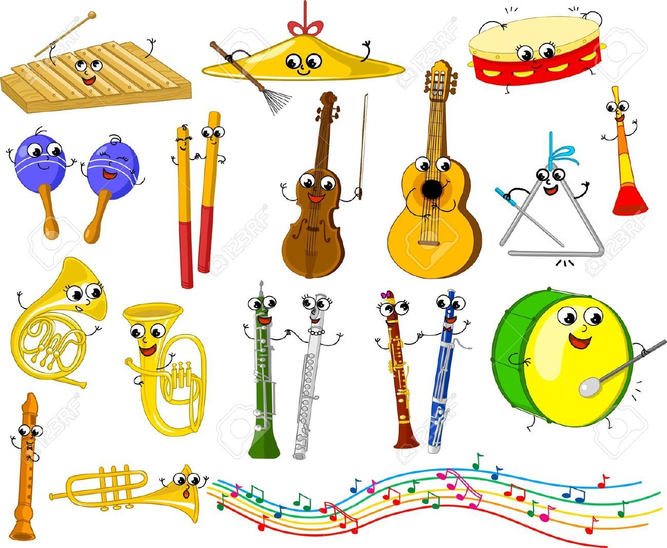 Cartoon Violin Images: Set Of Funny Cartoon Musical Instruments For Kids Royalty