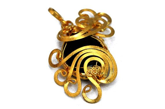 23k Gold Plated Onyx Pendant  Wire Wrap Pendant  by HyppieChic