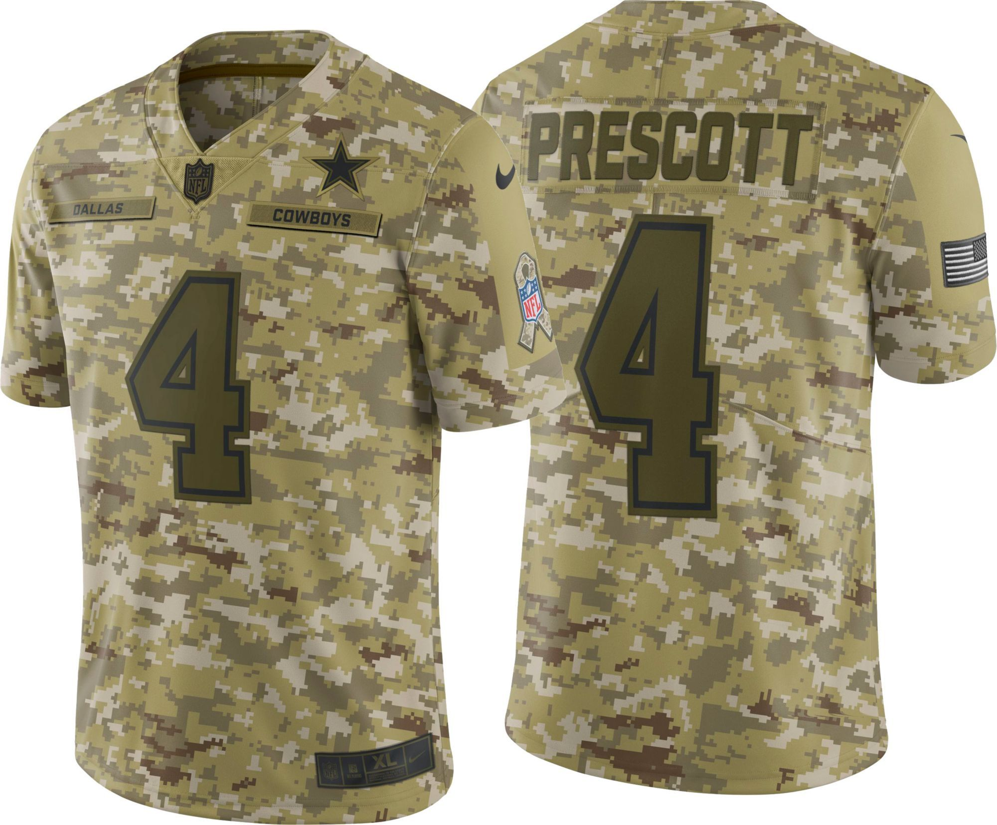 size 40 e2109 1ef10 Nike Youth Salute to Service Dallas Cowboys Dak Prescott #4 ...