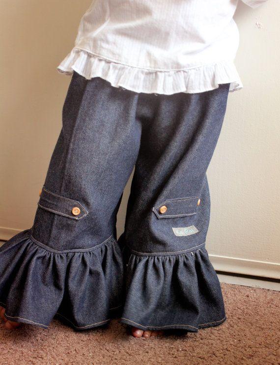 c540679f7 Ruffle Jeans Toddler Girls Wide Leg Pants by KaiRaiKids on Etsy, $35.00
