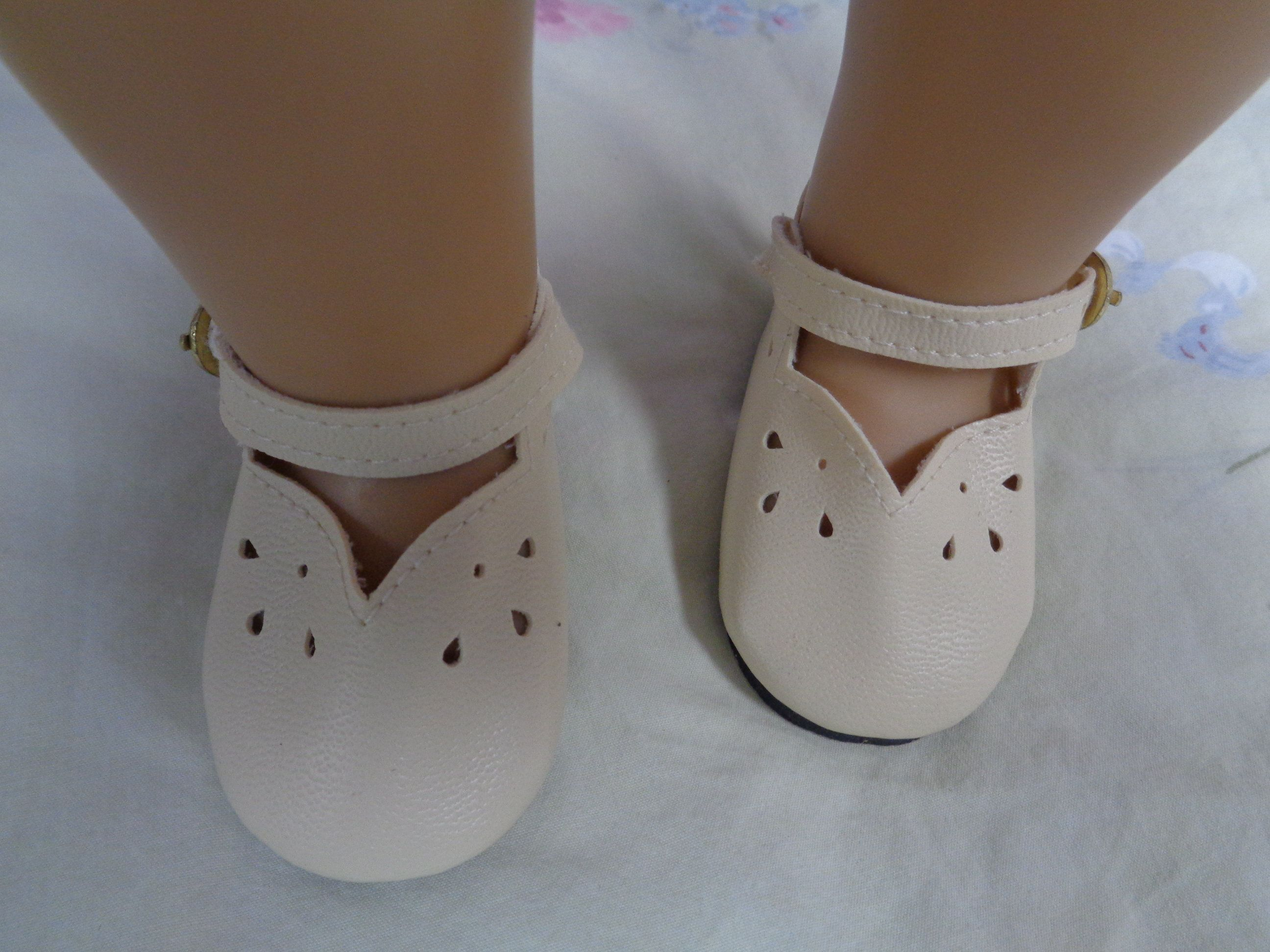 15e1ccb0fcb9b Ivory Leather Doll Shoes for 18 inch Dolls- Shoes fits 18