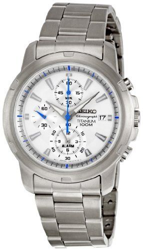 Seiko Men's SNAE45 Alarm Silver Dial Watch Seiko. $168.49. Quartz movement. Titanium Case Watch. Case diameter: 44 mm. Durable hardlex crystal protects watch from scratches,. Water-resistant to 100 M (330 feet)