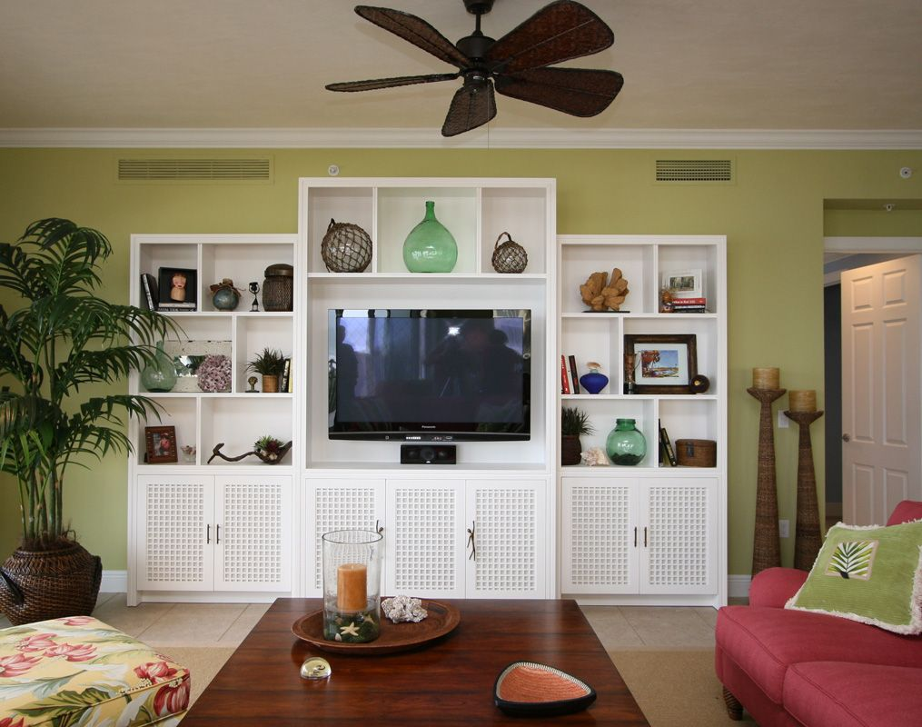 Florida Interior Condo Decorating | Beach Condo Great Room Wall Unit