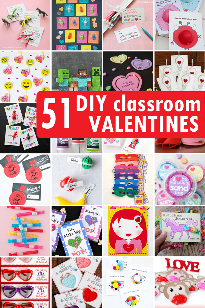 diy valentine's day classroom cards for kids' school