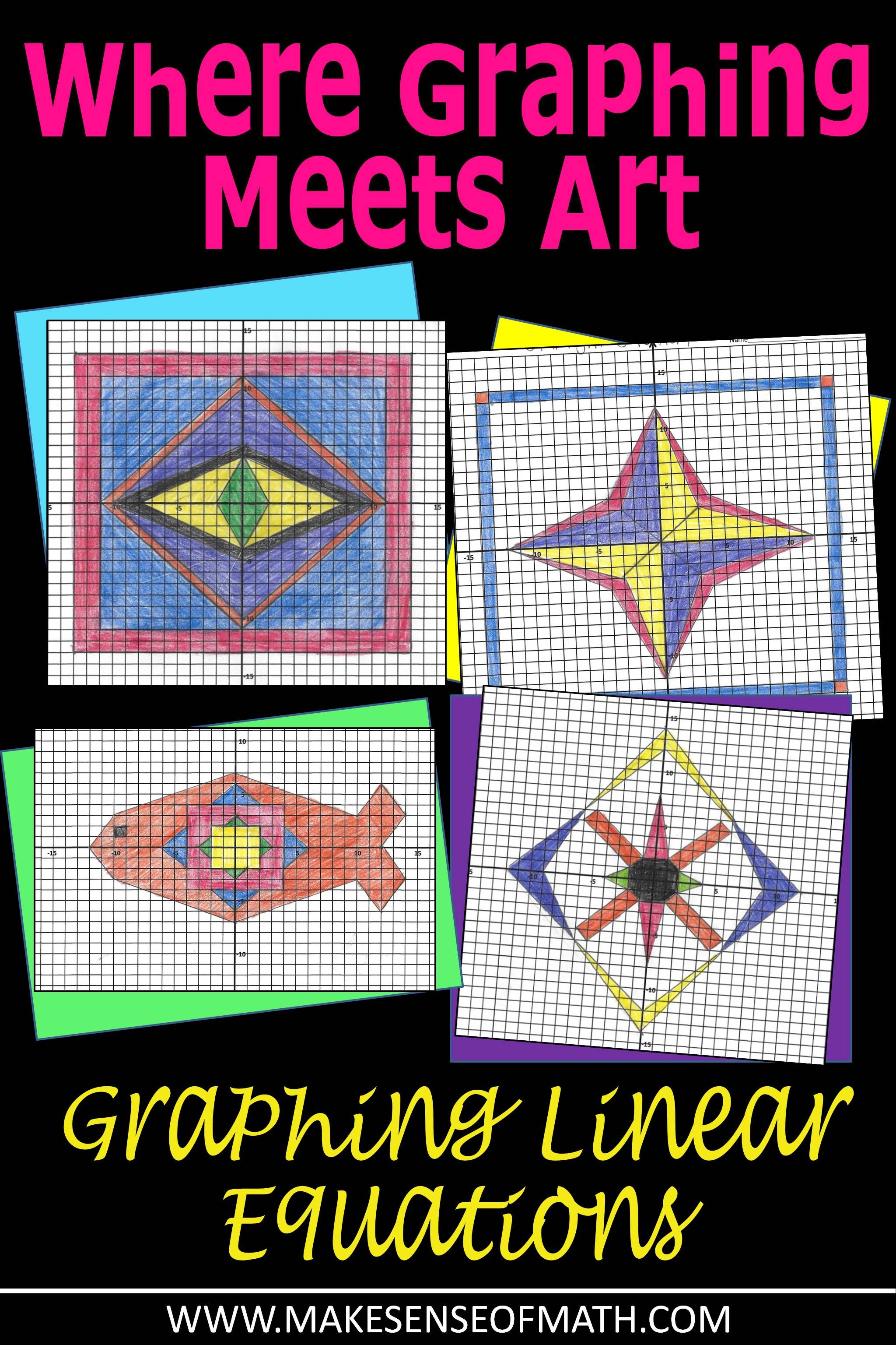 Slope-Intercept Form Graphing Art Bundle | Make Sense of Math | Math ...