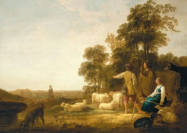A Landscape With Shepherds And Shepherdesses By Aelbert Cuyp Silver Wall Art Art Colorful Paintings