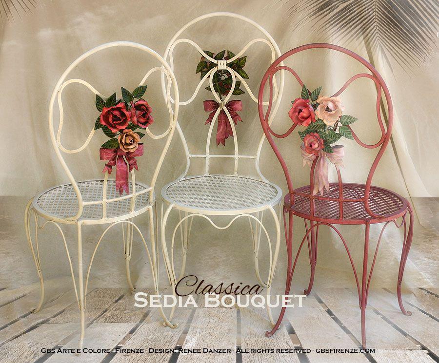 Arredamenti In Ferro Battuto Firenze : Sedia bouquet di rose fiocco centrale ferro battuto e decorato a