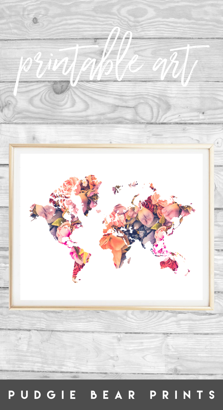 Printable floral map map wall art travel poster floral map printable floral map map wall art travel poster floral map poster world map poster floral world map map print travel gift gumiabroncs Images