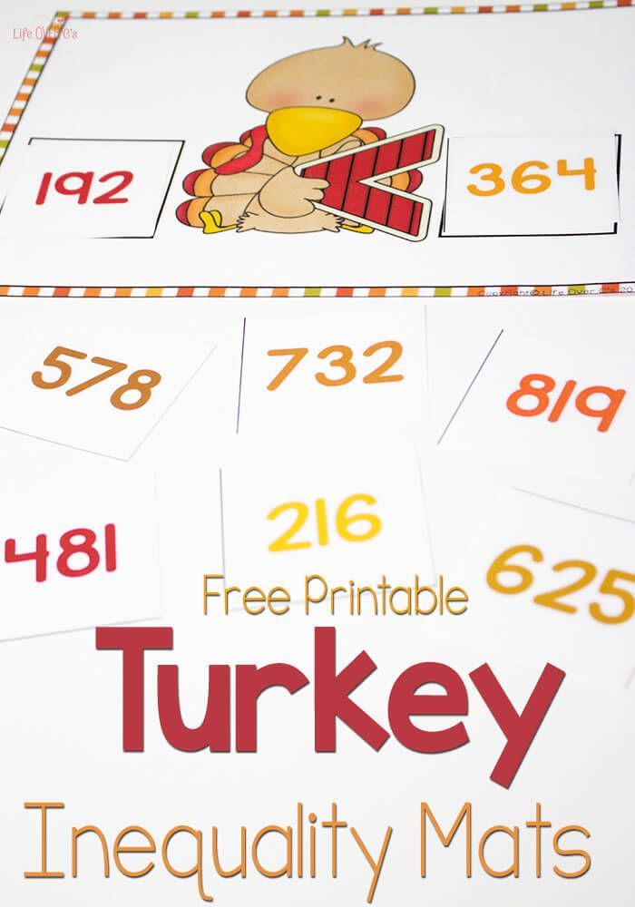 Turkey Greater Than/Less Than Free Printable for Hundreds | Number ...