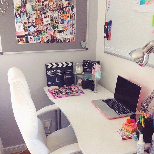 Kleines Schlafzimmer, Arbeitszimmer, Kinderzimmer, Einrichtung, Dekoration,  Wohnen, Jugendzimmer Schreibtisch, Teenager Mädchen Schreibtisch,  Schlafzimmer ...