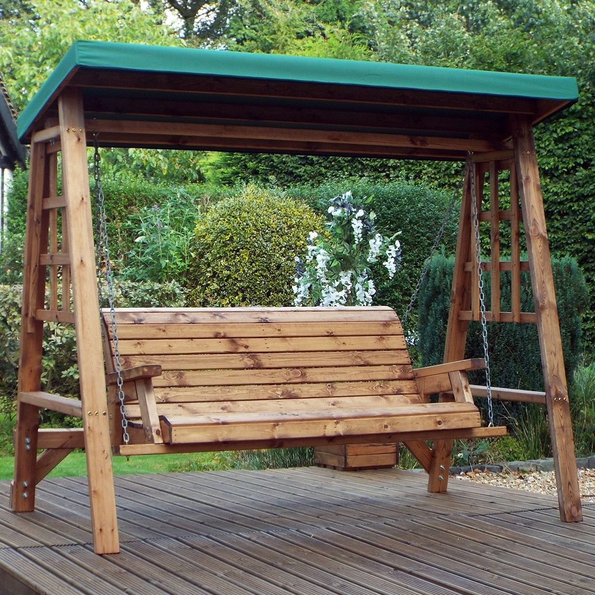 Charles Taylor Dorset 3 Seater Wooden Swing Green 400 x 300