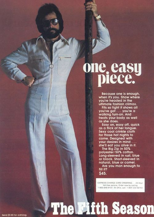 ea9e228cca164 lol! hilarious men s jumpsuit fashion ad from the 70 s...are you man enough  to fill it