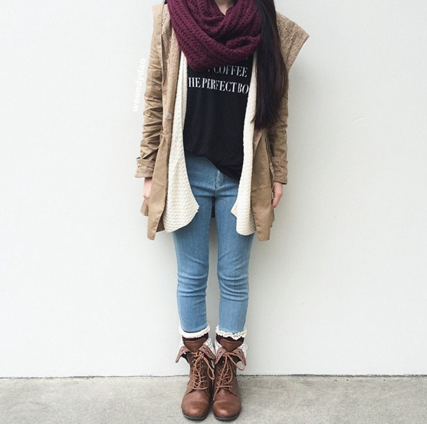 maroon scarf with brown boots @americanstyle