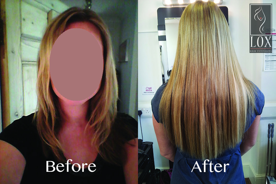 Hair Extension Before And After Of A Client Using The Micro Ring