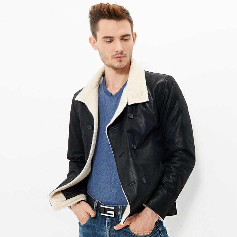 Pas cher 2016 Hommes veste en cuir véritable peau de porc de moto Véritable… 2c32a37d38e