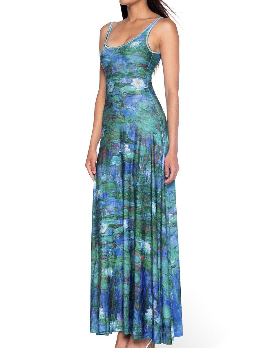 Blue Water Lilies Maxi Dress (AU $140AUD) By Black Milk