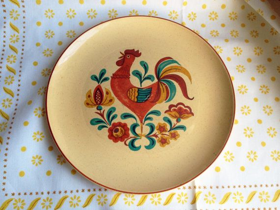 REVEILLE Dinner Plate, 3 Available, Taylor Smith U0026 Taylor Speckled Yellow  Rooster China Dish