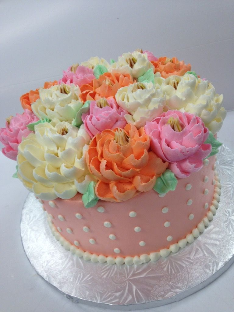 Classic cake collection cakecupcake decorating ideas pinterest peach dot flower garden birthday cake buttercream carnation peony izmirmasajfo