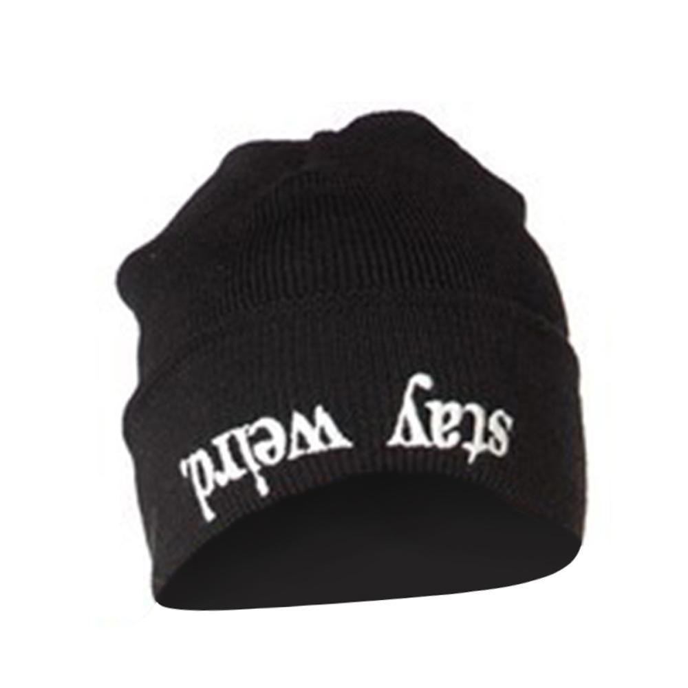 f041dc2ea74 Beanie STAY WEIRD Letter Print Hats for Women Men Autumn Winter Unisex  Casual Black Cap Korean Knitted Hat Caps Balaclava