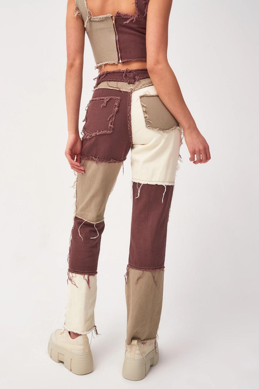 Brown Patchwork Denim Boyfriend Jeans | Jaded London