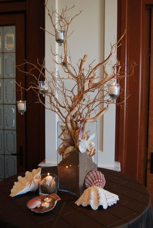 Beach Inspired Table Decor Manzanita Branches Hanging Votive Candles In A Glass Vase Table Centerpiece Decorations Fun Wedding Decor Floral Arrangements Diy