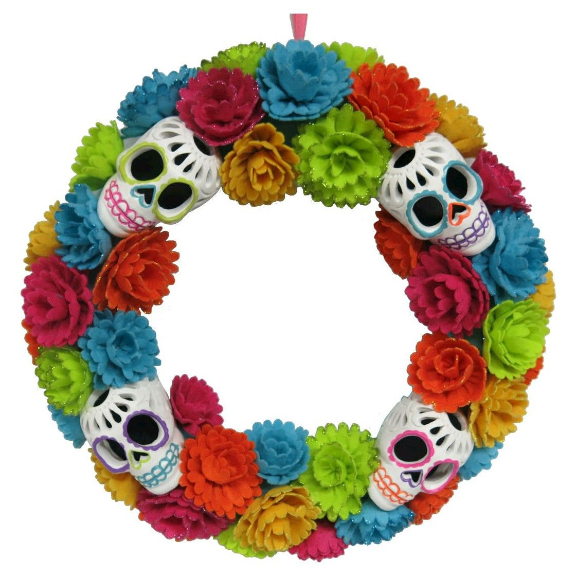 Day of the dead flower and skull wreath dia de los for Day of the dead craft supplies