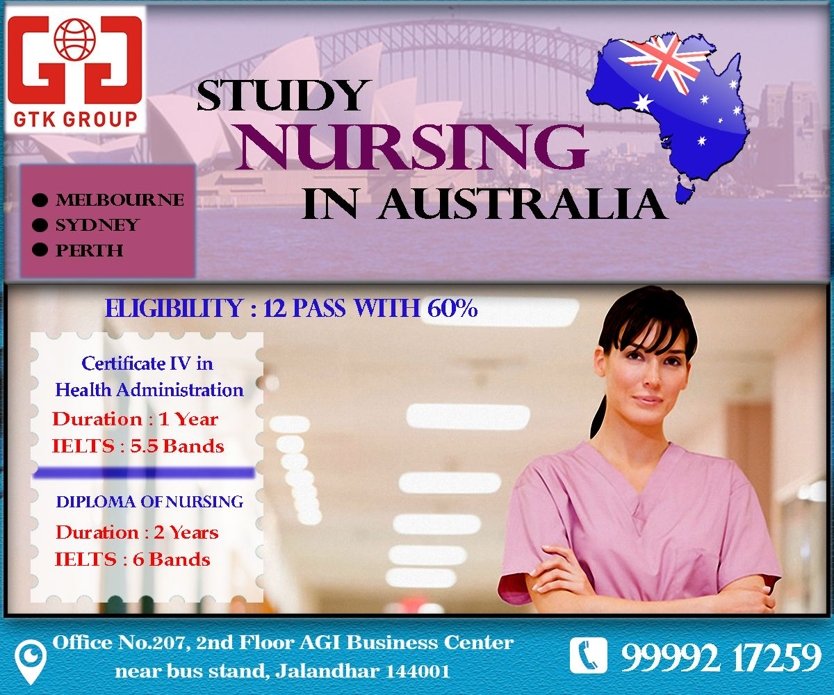 Study Nursing in Australia Requirement 10+2(Med) with 60