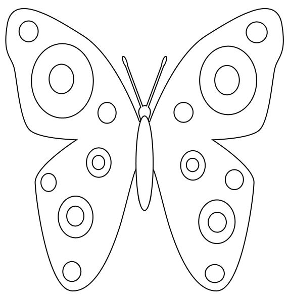 Butterfly Template | Printable Spring Butterfly Coloring Page By