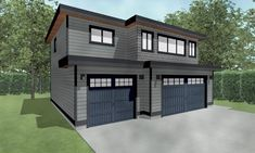 Details about Triple Car / 3 Car Garage Plan / Blueprints With Livable Space Above – 35 x 32