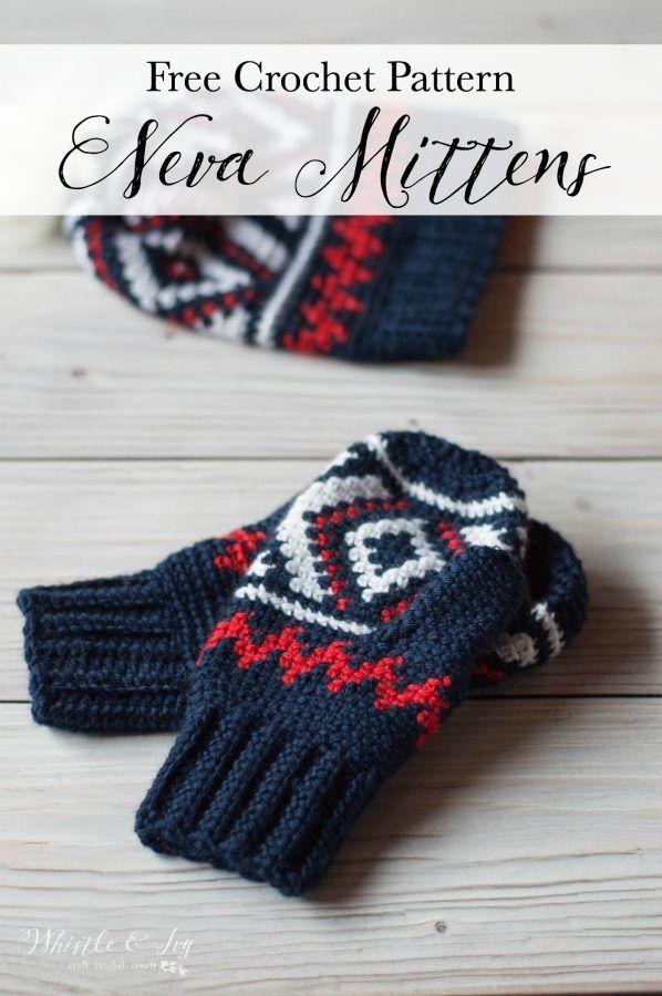 Fair Isle Neva Mittens - Free Crochet Pattern   Häckeln, Stricken ...